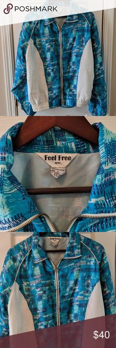 Vintage windbreaker Vintage blue and white windbreaker. Has signs of wear, as does most things vintage haha. Very light weight, size large. Bundle this listing to save on shipping and an extra 10%📦💲🙌 Jackets & Coats