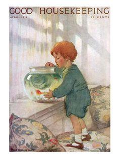 Old Magazine Covers - 1910s Vintage Magazine Art - Good Housekeeping Jessie Wilcox Smith