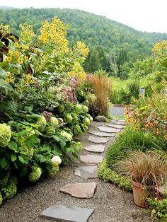 Savor warmer seasons with a simple path that leads the way through your yard or garden. An understated path of irregular-shape flagstones creates a casual, welcoming atmosphere.