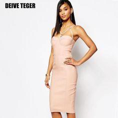Quality V-neck spaghetti strap synthetic leather bandage women knee-length dress