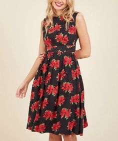 ModCloth Poinsettia Too Much Fun A-Line Dress - Plus Too   zulily