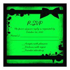 Neon green black ribbon grunge wedding RSVP Announcements
