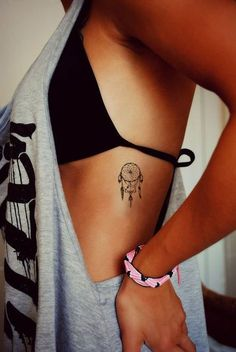 Dreamcatcher Tattoo, Small, Summer Tattoo, Beach Tattoo, Bohemian Tattoo, Boho Tattoo, Side Boob Tattoo