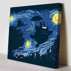 Totoro Starry Night Canvas Print by PeriodDesign on Etsy