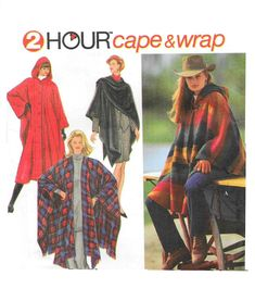 Misses Hooded Wrap Cape Sewing Pattern 2 Lengths Front Closure Variations Self Fringe Simplicity 9223 2 Hour OSZ Fits XS-L Sewing Patterns For Kids, Simplicity Sewing Patterns, Mccalls Patterns, Vintage Sewing Patterns, Hooded Cape Pattern, No Sew Cape, Disney Cars Birthday, Fabric Structure, Hollywood Theme