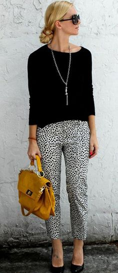 Black with cheetah pants and yellow purse/accents