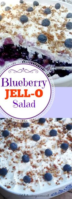 Blueberry Jello salad mixed with pineapple and blueberry pie filling is a classic JELL-O dish from the that is popular in the Southern states. I would probably use Cool Whip for the topping! Blueberry Jello Salad, Blueberry Recipes, Fruit Jello, Fruit Cups, Jello Cake, Blueberry Ideas, Orange Jello Salads, Blueberry Jelly, Blue Jello