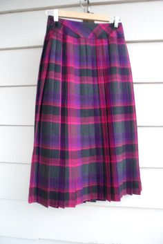 Vintage Plaid Wool Skirt - S - Dirndl Pleated Skirt with Fuchsia, Pink, Black and Purple Plaid and Black Side Buttons by Lachellybelly on Etsy. $34.