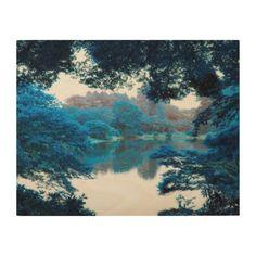 #Blue colour effected cool unique nature lake wood print - #travel #art