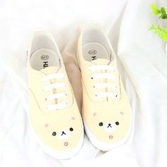 Hand painted small pure and fresh and soft sister bear canvas shoes white shoes Pastel Fashion, Kawaii Fashion, Lolita Fashion, Cute Fashion, Fashion Shoes, Kawaii Shoes, Kawaii Clothes, Sock Shoes, Shoe Boots