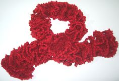 "Red hand-made scarf with ""fringes"", 100% acrylic, 97 x 8 cm - Handmade in Italy by my friend Marilena <3"
