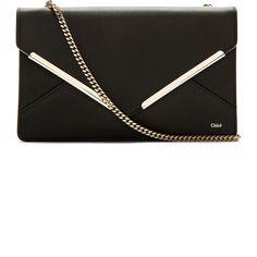 969ac4e57cea0 Chloé Black Leather Envelope Clutch Bolsa De Festa