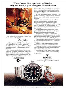 1974 Rolex COMEX Submariner SEA-DWELLER AD