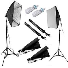 """From 49.99 Ruili 24""""x24""""/60x60cm Professional Softbox Lights Studio Continuous Lighting Kit And 2x85w Video Lighting Bulbs For Photo Studio Portraits Product Photography And Video Shooting"""