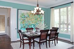 Stylish interior with turquoise accents by Highland Homes