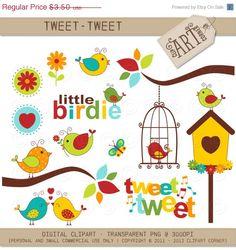 30 OFF Digital Clipart  Birds Tweet Tweet DC9499 by ClipArtCorner, $2.45