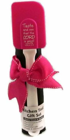 Pink and Black Silicone Trivet and Spatula - Taste and See That the Lord Is Good! - Great gift for newlyweds.