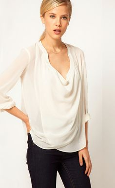 4830301a48 White V Neck Long Sleeve Sheer Chiffon Blouse US 25.81 Sheer White Blouse