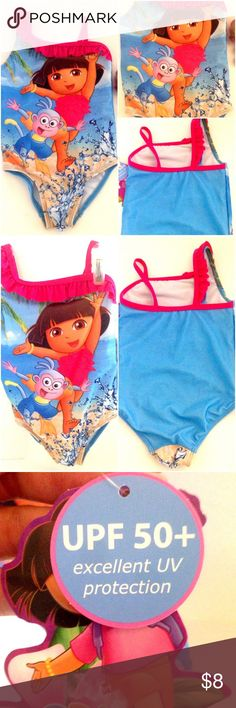 ADorable Dora The Explorer One Piece Swimsuit ADorable Dora The Explorer One Piece Swimsuit or Bathing Suit  Great for Swimming Lessons  Cute One Shouldered with Ruffle  UPF 50+ Nickelodeon Swim One Pieces