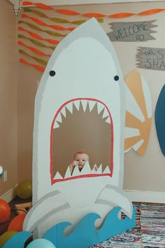 welcome to the surf shack / shark photo prop for surf's up party / first birthday parties