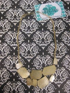 Hammered Square Gold Necklace  $20