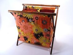 Floral Knitting and Crochet Folding Craft Bag Portable Vintage 70s by martasrose on Etsy https://www.etsy.com/listing/231574640/floral-knitting-and-crochet-folding