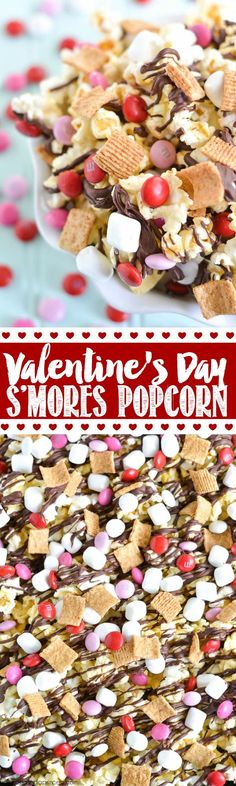 Valentine's Day S'mores Popcorn -easy chocolate covered popcorn recipe made with golden grahams cereal, marshmallows and M&M's.