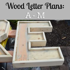 DIY plans to make wood letters (A-M).You can find Wood letters and more on our website.DIY plans to make wood letters (A-M). Kids Woodworking Projects, Wood Projects For Beginners, Wood Working For Beginners, Woodworking Furniture, Woodworking Crafts, Woodworking Plans, Woodworking Shop, Woodworking Classes, Wood Furniture