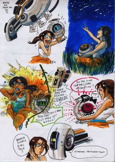 Fun with Cores by *raintalker  Everyone has a core day with Chell :)