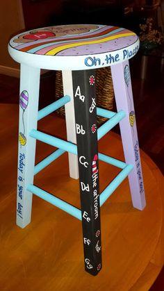 Custom painted stool