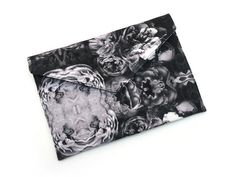 Handmade Monochrome Roses Envelope Clutch Bag from maxandrosie.co.uk