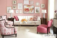 Overall colors in this room, using the 60-30-10 rule are pink, white and orange. For the fabrics 60 is white w/ small pattern on the area rug; 30 is the fabric on the 2 chairs w/ wider pattern in pink ( pattern repeated in the side lamps); the 10 is the hot pink chair w/ no pattern an extra 10 can be the orange ( repeated 3 times on the flowers, decorative pillow and central painting)