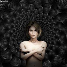 Woman on 3d matrix by James Alan Smith