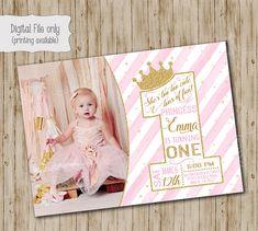 One Princess Birthday Invitation / Gold Glitter Birthday