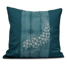 E by Design Intercoastal Waterway Fish Pool Decorative Pillow Teal - PA778BL37-16