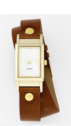 Brown and gold watch