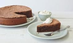 very dark chocolate,     very dark chocolate, cinnamon and rye cake.