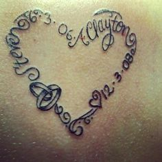 Tattoo with my husbands name, our anniversary date, my sons name and his birthdate