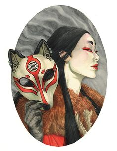 The Kitsune. Watercolors on arches hotpress For more of my work chec. The Kitsune. Japan Illustration, Illustration Photo, Illustration Pictures, Illustration Sketches, Character Illustration, Digital Illustration, Illustrations, Kunst Inspo, Art Inspo