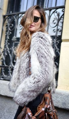 #winter #fashion / faux fur + gray