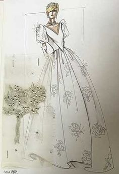 Diana's favourite designer reveals how the Princess sketched design for one of her most famous dresses worn for the 1981 State Opening of Parliament Princess Diana Dresses, Princes Diana, Diana Fashion, Royal Fashion, Dress Design Sketches, Fashion Sketches, White Gowns, White Wedding Dresses, Caricatures