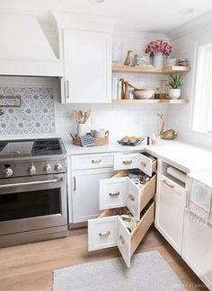 These corner kitchen drawers are genius! So much better than a lazy Susan! diy kitchen decor Best of Driven by Decor Kitchen Decor, Home Decor Kitchen, New Kitchen, Kitchen Remodel Small, Kitchen Design Small, Kitchen Corner, Kitchen Remodel, Kitchen Renovation, Interior Design Kitchen Small