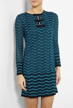 M MISSONI Inspired Blue Bow Front Wave Knit Dress