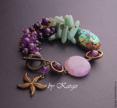 Купить Браслет Тайна океана - фиолетовый, крупный браслет, аметист, нефрит, море, подарок, пауа