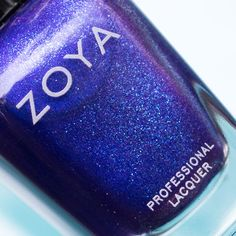 Super macro bottle shot of Isa by Zoya Nail Polish - look at all that glitter! Bottle Shoot, Hot Blue, Blue Nail Polish, Nail Polish Collection, I Feel Pretty, All That Glitters, My Nails, Swatch, The Cure