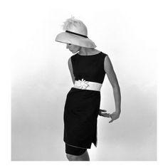 black & white french clothing | john french black sleeveless dress with white belt 1960s, John French ...