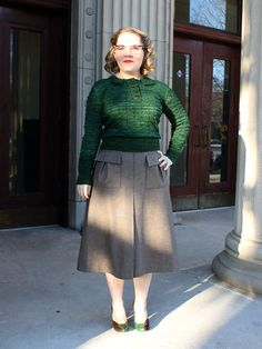 Liz's amazing green bobble jumper & skirt to match #vintage #sewing #knitting
