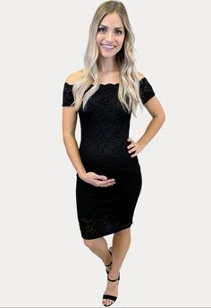 This black lace maternity dress is the perfect staple piece to rock during the holiday season! #SexyMamaMaternity #ShopSexyMama #holidaymaternitydresses Winter Maternity Outfits, Maternity Gowns, Pregnancy Months, Perfect Wardrobe, Staple Pieces, Sexy Dresses, Lace Dress, Rock, Holiday