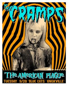 The Cramps - Knoxville TN Pop Posters, Band Posters, Concert Posters, Movie Posters, Russ Mayer, Black And White Cartoon, Music Flyer, The Cramps, The Rocky Horror Picture Show