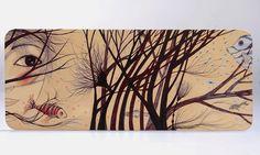 """""""Giardino Acquatico""""  illustrazione Manuela Santini penna e matite colorate su cuoio"""